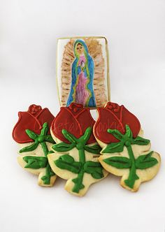 Mexican Cookies, Flower Sugar Cookies, Mama Mary, I Am Amazing, Fiesta Party, Royal Icing Cookies, Blessed Mother, Cookie Ideas, All Saints