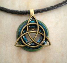 Blue triquetra necklace, mens jewelry, celtic jewelry, boyfriend gift, mens…