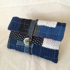 Japanese Boro Pouch Sashiko Bag Makeup Pouch by JapaneseBOROshop