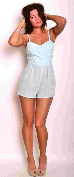 Her Pony semi sheer mint daisy embroidered playsuit - HERPONY - Ladies