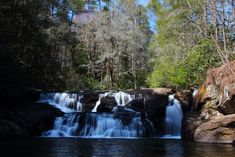 Dicks Creek Falls is the confluence of the Dicks and Waters Creek in the Chattahoochee National Forest. Waterfalls In Georgia, Georgia State Parks, Clear Spring, Swimming Holes, National Forest, Places To Go, Things To Do, Adventure, Travel