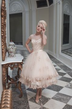House of Mooshki blush tea length wedding dress