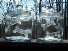 Could keep separate if have dietary or allergy needs.  Custom Glass Treat Jars; Personalized Dog Treat Cookie Jar