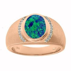 Men's Oval-Cut Australian Opal and Diamond Ring In Rose Gold #Christmas 2016 #Jewelry #Personalized #Unique #Simple #Gifts @ Gemologica.com #Xmas #Gift guide finder ideas for #Him #Her #Kids #Jewellery #couponcode #deals #sale Stocking Stuffer #Ideas. #Presents for girlfriends, boyfriends, children, men, women from the #Gemologica Jewelry Store. #Earrings #Rings #Necklaces #Bracelets #Gold #Silver #Fashion #Style