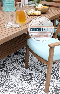 """outdoor rugs Learn how to use concrete stain and stencils to create an outdoor patio """"rug"""". Step-by-step tutorial by Jen Woodhouse of The House of Wood. Stencil Concrete, Painted Concrete Floors, Painting Concrete, Stained Concrete, Cement Floors, Plywood Floors, Faux Painting, Concrete Patios, Concrete Patio Stain"""