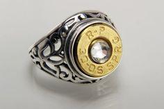 Sterling Silver Bullet Ring - Bullet Jewelry For Men - Sterling Silver Filigree…