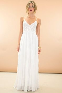 Something Special Crochet Maxi Dress - White - ShopLuckyDuck - 1