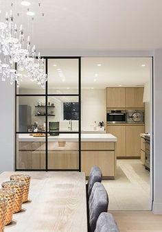 Deco Design, Küchen Design, House Design, Open Plan Kitchen Living Room, Home Decor Kitchen, Interior Windows, Apartment Interior, Modern Kitchen Design, Interior Design Kitchen