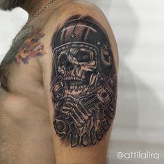 skull black work tattoo