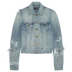 96ccb103 Saint Laurent Cropped distressed denim jacket ($894) ❤ liked on Polyvore  featuring outerwear,