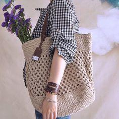 Beige crochet bag crochet handbag summer bag by vivianfabric, $73.25