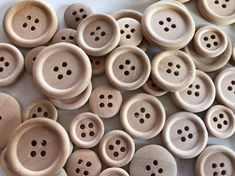 15 Mixed Size Natural Wooden Round Buttons