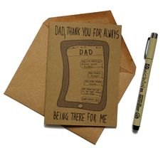Funny Father's Day Card | Thank you card for dad | Fathers Day Card Funny | Fathers Day Card from Daughter by MashUpArt on Etsy https://www.etsy.com/listing/292531607/funny-fathers-day-card-thank-you-card