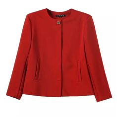 autumn winter new simple style round neck crepe women casual jacket coat red black white