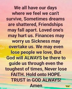 Lost People, Tough Times, Falling Apart, Trust God, Self Help, No Worries, Sick, First Love, It Hurts