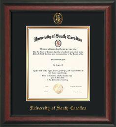 USC Upstate Diploma Frame - Rosewood - w/USCU seal - black/gold – Professional Framing Company
