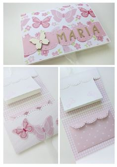 Bonito portadinero para una comunión, bautizo, boda... Scrap. Margy Diy Crafts For Girls, Diy And Crafts, Paper Crafts, Stationary School, All Paper, Handmade Journals, Butterfly Cards, Handmade Birthday Cards, Scrapbook Albums
