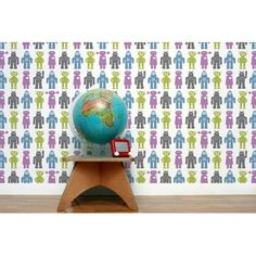 Aimee Wilder Designs Robots Wallpaper or you repeat your favourite toys/items/collectables as custom printed wallpaper