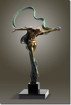 """Dance of Beauty"" by Gaylord Ho 16 x 7 x 27 Limited Edition Bronze Sculpture on granite base Edition size of 50 1-877-844-3447 toll free"