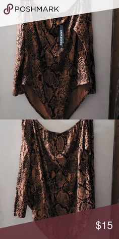 e6b702ad865 Bodysuit Snake print choker bodysuit Color tan and black Sz uk24 us 20 95%  viscose