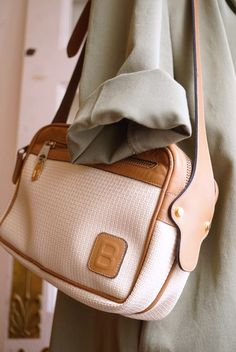 "ITALY製BALLY《IVORY PVC×BEIGE LEATHER》MICRO""B"" MONOGRAM SHOULDER d11394037baef"