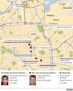 Map showing locations of 13 November attacks and list of suspected attackers