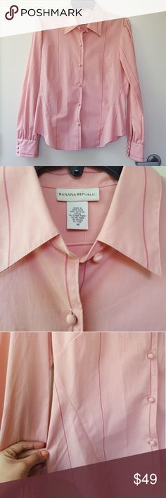 BR Pink with Gold Tinsel Detail Button Down BANANA REPUBLIC  Pink with Gold Tinsel Detail Button Down  Size: Medium Banana Republic Tops Button Down Shirts