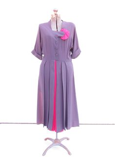 Vintage 1940s Purple Dress with Pink Accents by FairSails on Etsy