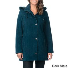 @Overstock - Nuage Women's Detachable Hood Lycroft Jacket with Stand Collar - A zip front reinforced with a snap placket keep you cozy inside this lycroft jacket from Nuage. This jacket includes decorative leatherette piping, plus a detachable faux fur hood.  http://www.overstock.com/Clothing-Shoes/Nuage-Womens-Detachable-Hood-Lycroft-Jacket-with-Stand-Collar/8477631/product.html?CID=214117 $93.49