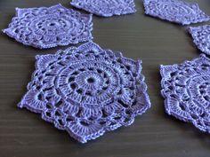 Crochet: Set of 6 hexagon lavender purple coasters by NadoandLola on Etsy Crochet Doilies, Coasters, Crochet Earrings, Lavender, Purple, Trending Outfits, Unique Jewelry, Handmade Gifts, Etsy