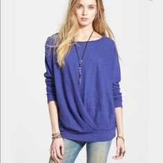 Free People French Terry Draped Pullover NWT NWT Free People draped sweatshirt. SOFT & COZY, with a loose fitting/tunic style --depending on body type. Raw edge neckline. 66% Cotton 22% polyester. Size small. Cute worn on or off-shoulder. tradesPayPal offer button. Free People Tops Sweatshirts & Hoodies