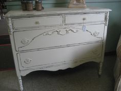 white dresser/shabby chic