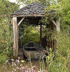 Little rowboat shelter for our garden pond