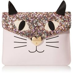 Betsey Johnson Cray Creatures Meow Clutch ($33) ❤ liked on Polyvore featuring bags, handbags, clutches, betsey johnson purses, pink handbags, betsey johnson, pink purse and pink clutches