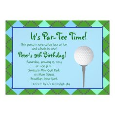Par Tee Time Personalized Invitation