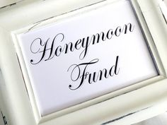 Honeymoon Fund. Wedding Sign   White or Ivory by lilcubby on Etsy, $3.95