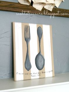 Handpainted Canvas with Spoon and Fork and with Scripture Psalm 34:8 via Etsy