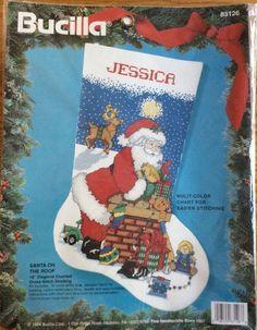 Bucilla Christmas Stocking Santa Chimney Roof Kit Cross Stitch New Toys #Bucilla #Stocking