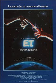 """A rare, vintage, Italian """"Locandina"""" movie poster for the 1982 Italian release of Steven Spielberg classic E.T. The Extra Terrestrial. The film stars Henry Thomas, Dee Wallace, Peter Coyote and Drew Barrymore."""