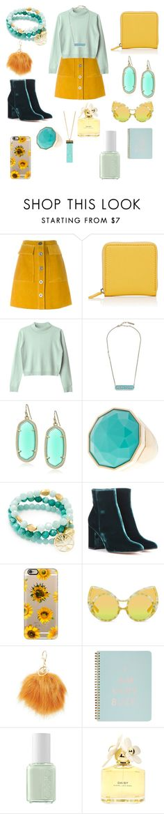 """""""Yellow And Teal"""" by issiebop11 ❤ liked on Polyvore featuring M.i.h Jeans, Barneys New York, Marc Jacobs, Kendra Scott, Trina Turk, Good Charma, Gianvito Rossi, Casetify, Charlotte Russe and ban.do"""