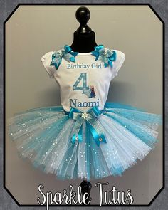 Elsa and Anna Frozen one inspired Personalised Birthday Girls Tutu Outfit - 12-18mths