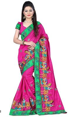 Become the object of everyone's attention draped in this pink color zoya silk embroidered sari. The lace and resham work appears to be chic and ideal for any occasion. #ethnicdesignsilksaree #fushiapinksilksaris #fancytrendybordersarees