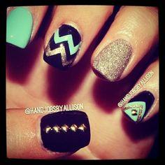 Mint, black, & gold nails.