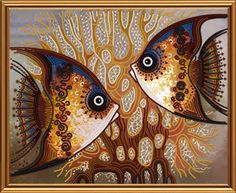 Bead embroidery kit Sea Fish brown embroidery kit wall art design needlework kit hand embroidery angelfish embroidery design beading pattern - Care - Skin care , beauty ideas and skin care tips Diy Bead Embroidery, Embroidery Kits, Glass Painting Designs, Wall Art Designs, Glass Painting Patterns, Batik Art, Fish Art, Fabric Painting, Bead Art