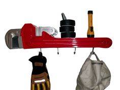 Pipe Wrench Coat Rack and Shelf Man Cave Car Man Cave, Man Cave Garage, Car Garage, Car Nursery, Man Cave Furniture, Cool Garages, Pipe Wrench, Man Cave Gifts, Rack Shelf