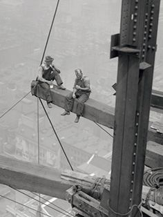 vintage black and white construction workers in nyc images | New York Workers Sitting on Steel Beam Giclee Print