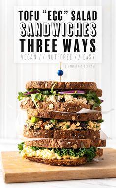 Nov 2019 - Tofu Egg Salad Sandwich - Three Ways! – Vegan Yack Attack Salat Sandwich, Vegan Sandwich Recipes, Egg Salad Sandwiches, Veggie Sandwich, Vegetarian Sandwiches, Panini Sandwiches, Veggie Wraps, Sandwich Ideas, Delicious Sandwiches