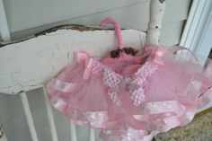 Child's pink tutu with ribbon accents fits 36 by ShuhpuppyAndDeppy, $30.00