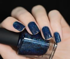 After Midnight - Prussian Blue Holographic Nail Polish by ILNP Holo Nail Polish, Holographic Nail Polish, Natural Gel Nails, American Nails, Wedding Manicure, Sparkle Nails, Halloween Nail Art, Nail Decorations, Perfect Nails