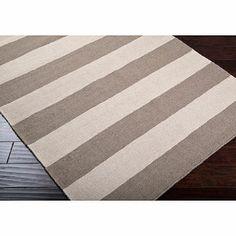 Montclair Frontier Rug in Grey/Ivory Stripe - BedBathandBeyond.com- bedroom?